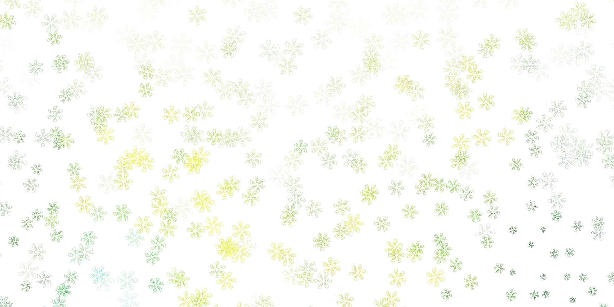 arte abstrata verde-clara e amarela com flores vetor
