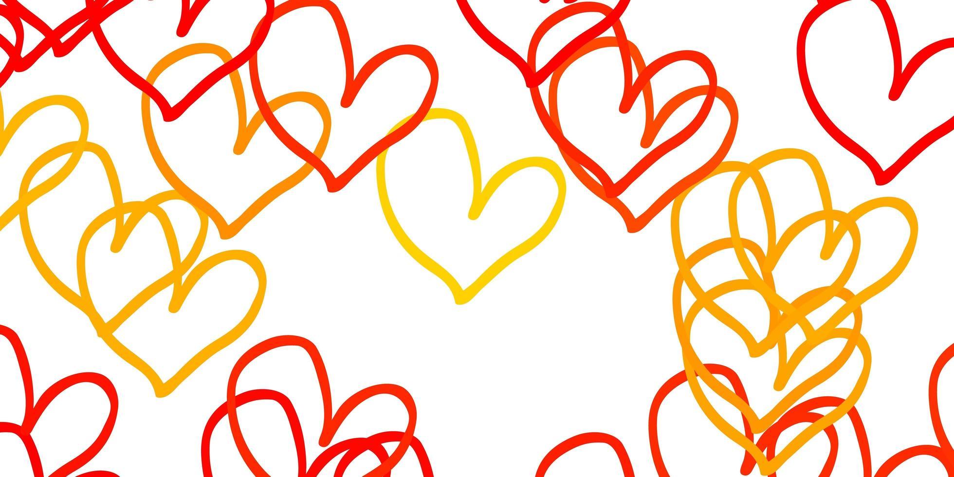 fundo vector laranja claro com corações.