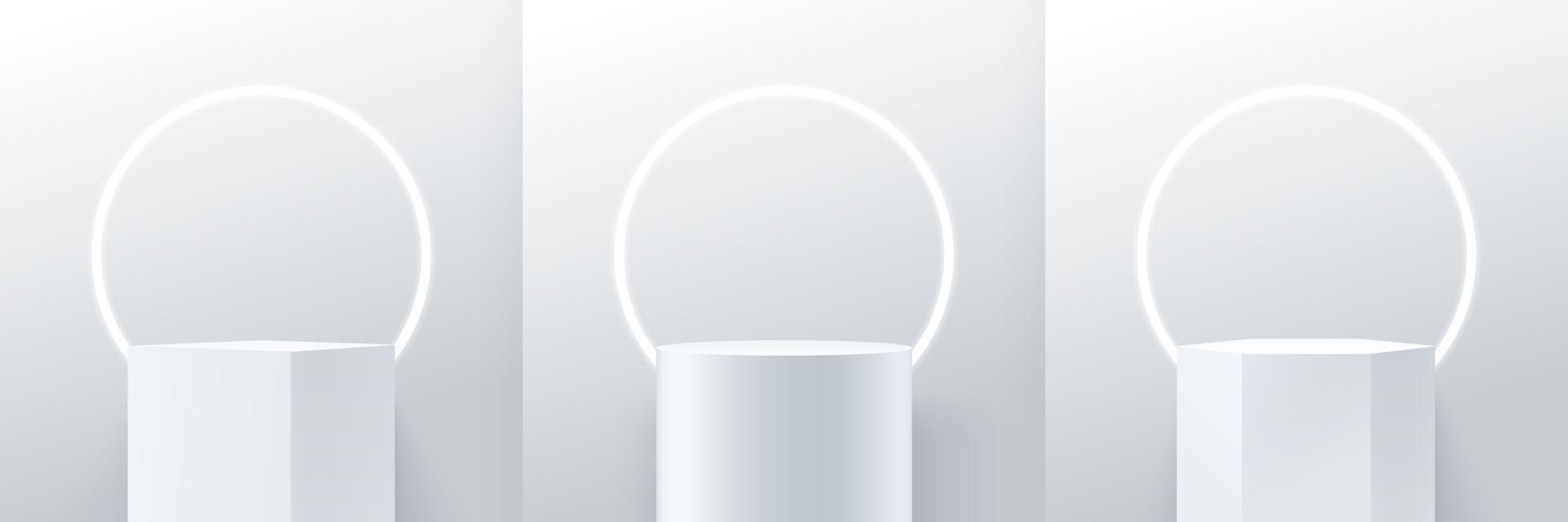 conjunto de cubo abstrato redondo e exibição de hexágono para o produto no site em design moderno. renderização de fundo com pódio e cena de parede de textura mínima, renderização em 3D de forma geométrica cor cinza branco. vetor