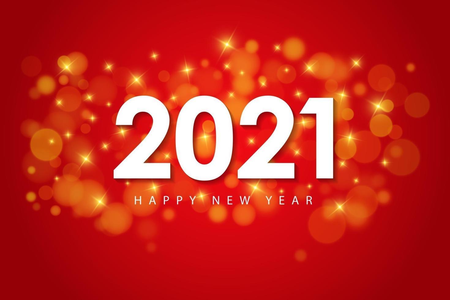 feliz ano novo 2021 modelo de design para cartões, cartaz, banner, ilustração vetorial. isolado sobre fundo vermelho. vetor