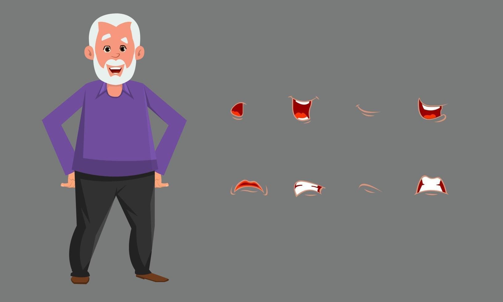 personagem de velho com conjunto diferente de emoção ou expressão. emoção de personagem personalizado definido para design, movimento ou animação. vetor