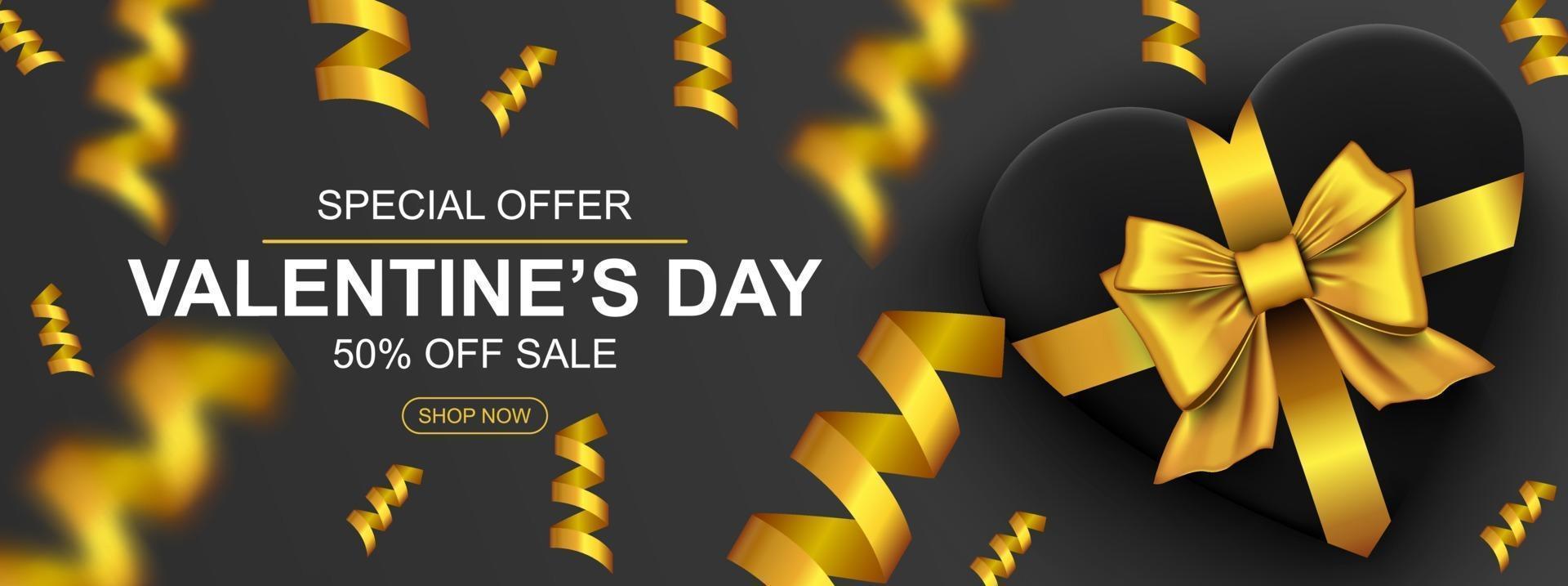 banner de web de venda de dia dos namorados. caixa de presente realista com coração de laço dourado e confetes. vetor