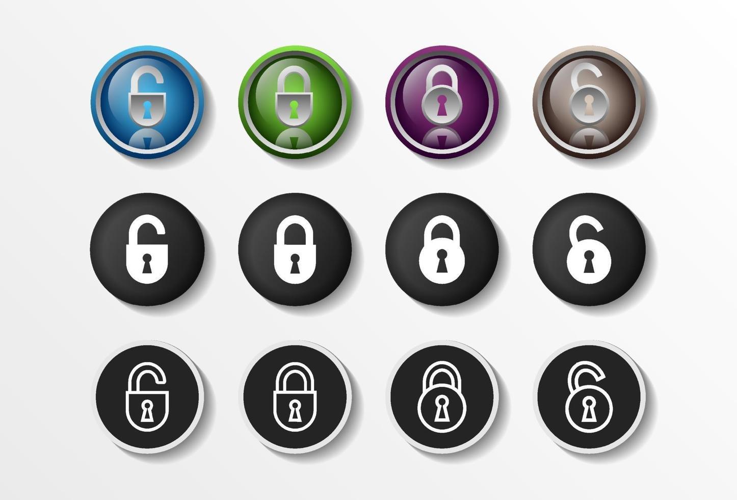 Ícones de bloqueio ajustados realistas fechados e abertos, ilustração vetorial de design plano de segurança em 4 opções de cores para web design e aplicativos móveis. ilustração vetorial. vetor