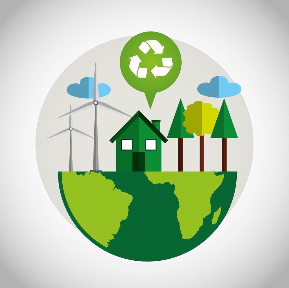 pôster ecológico com o planeta Terra e o símbolo de reciclagem vetor