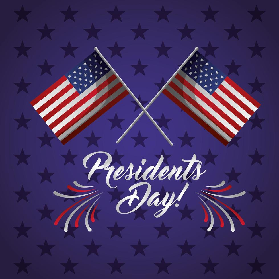 cartaz de comemoração do feliz dia dos presidentes com bandeiras dos EUA vetor