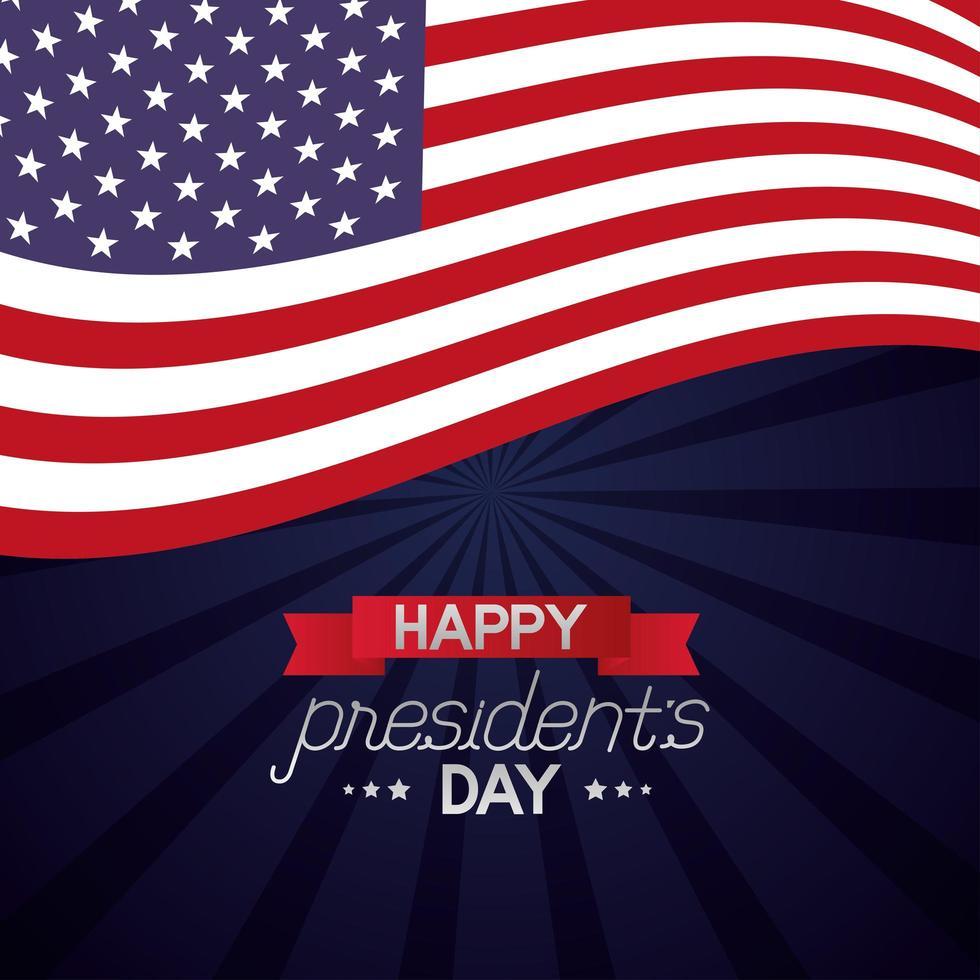 cartaz de celebração do feliz dia do presidente com bandeira vetor