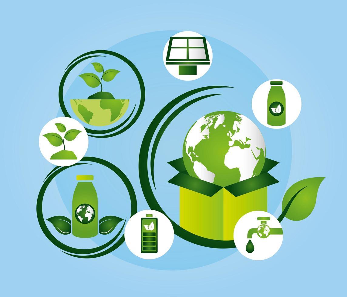 poster ecológico com o planeta Terra e ícones vetor