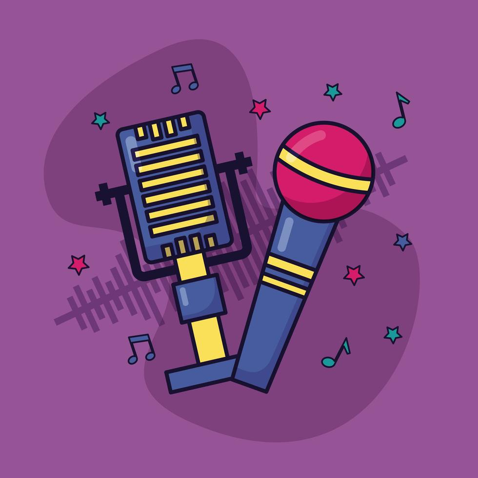 microfone retro som música fundo colorido vetor