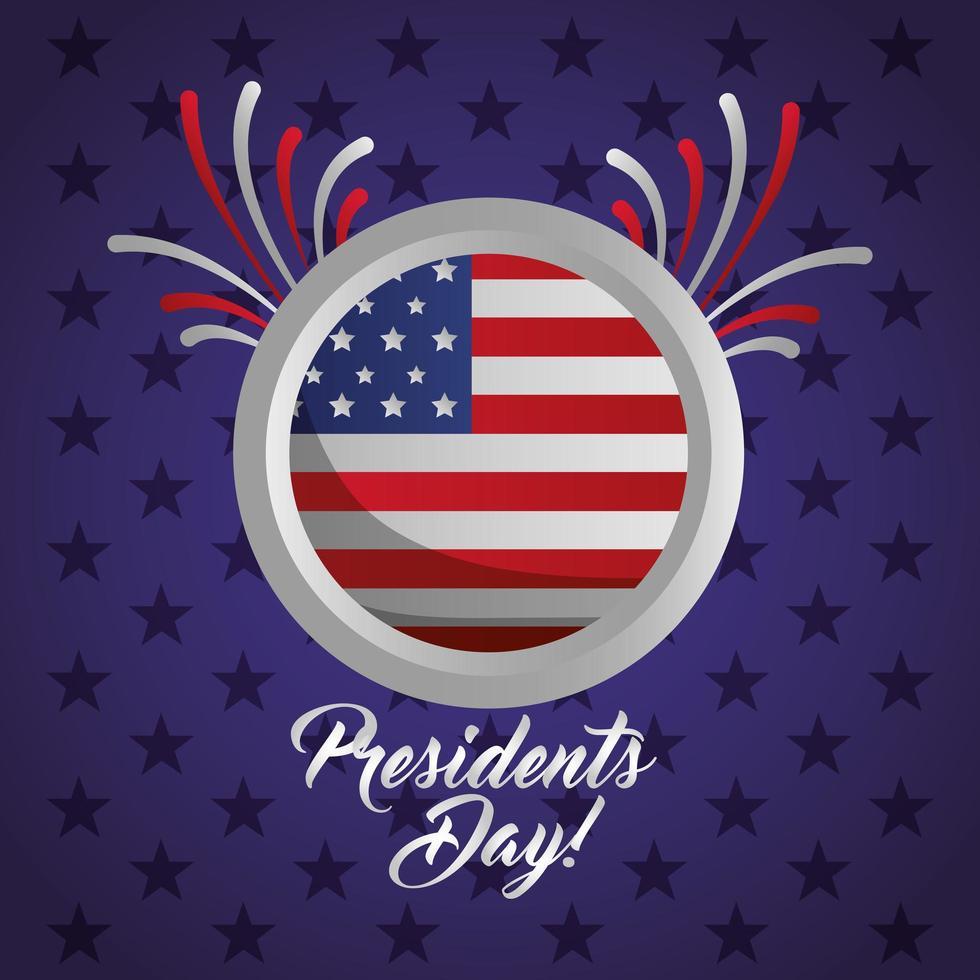 cartaz de celebração do feliz dia dos presidentes com carimbo do selo da bandeira vetor