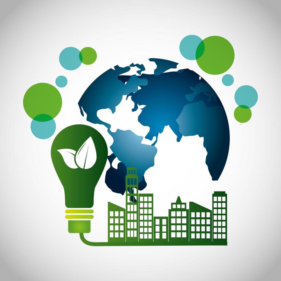 cartaz ecológico com edifícios da cidade vetor