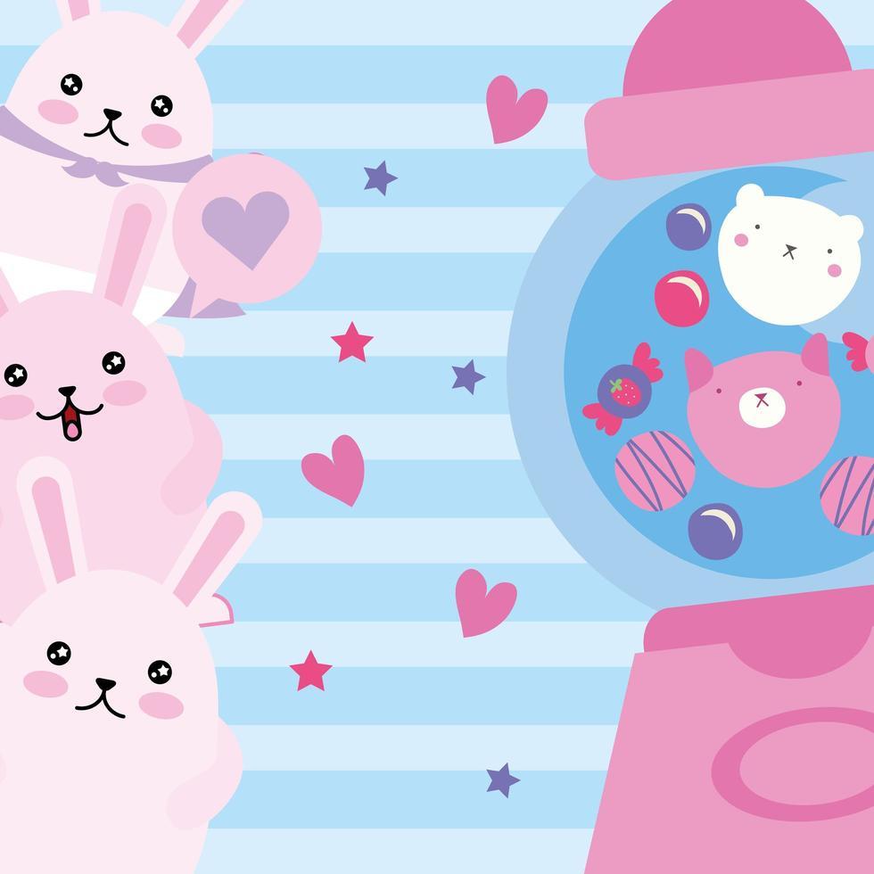 coelhinhos fofos com máquina de doces, personagens kawaii vetor
