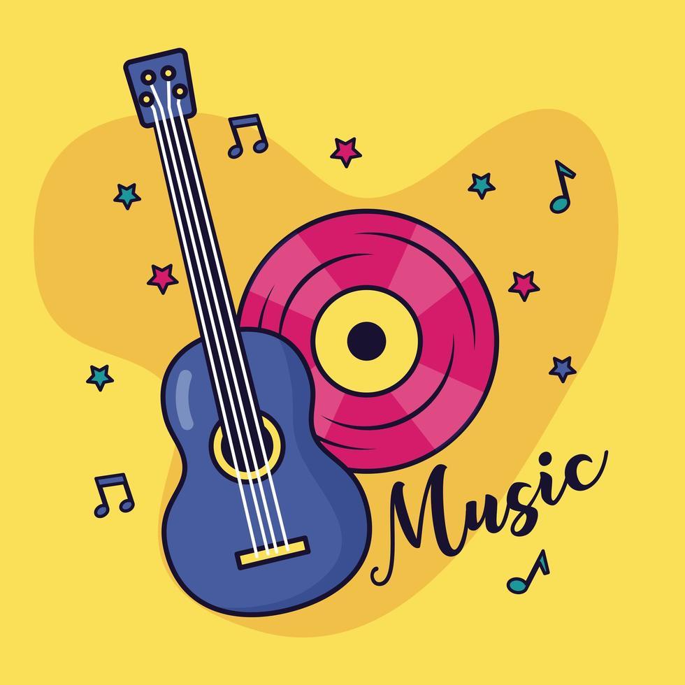 guitarra e vinil com música de fundo colorido vetor