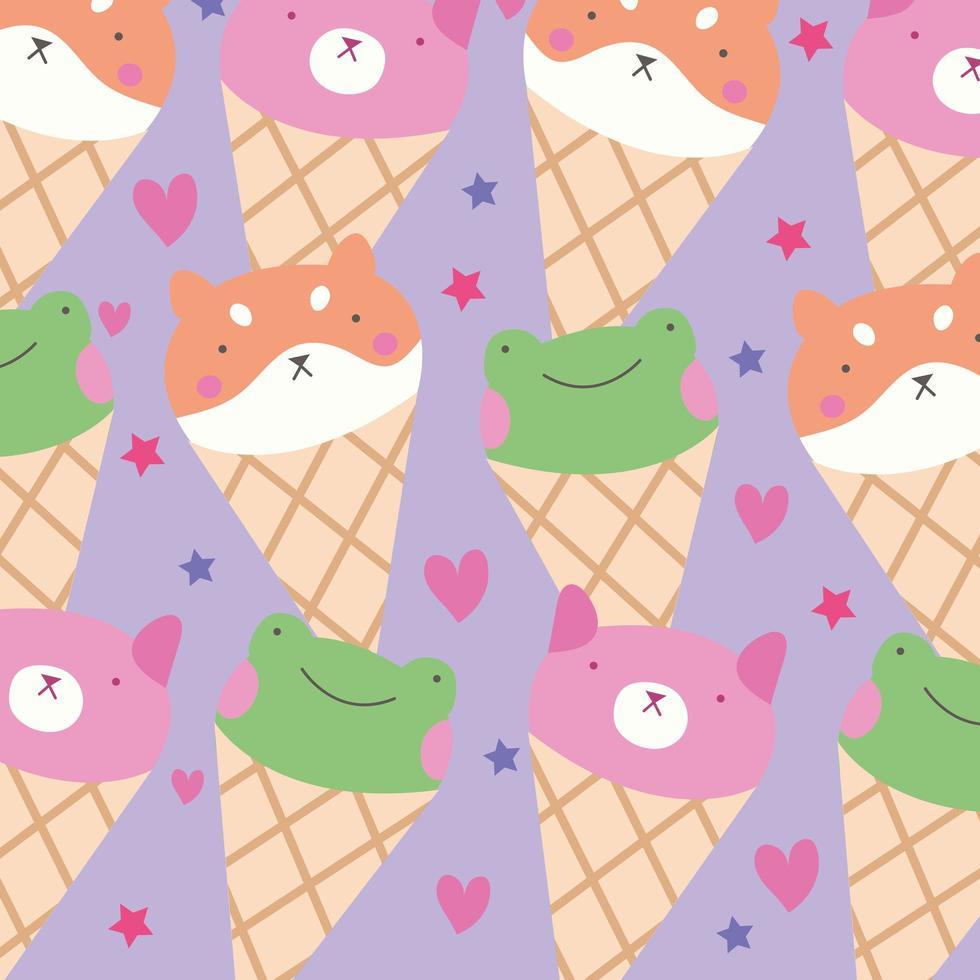 animaizinhos fofos no padrão de cones de sorvete vetor