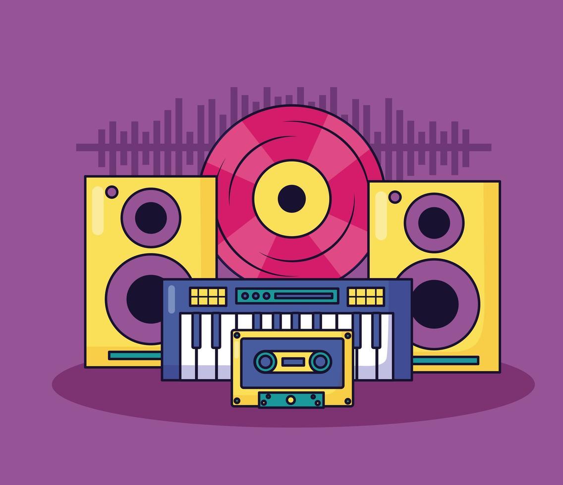 fundo colorido musical vetor