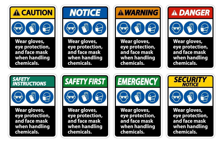 usar luvas, proteção para os olhos e máscara facial assinar isolado no fundo branco vetor