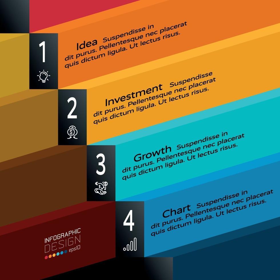etiqueta em 4 etapas de design plano para apresentação e planejamento de negócios ilustração vetorial. vetor