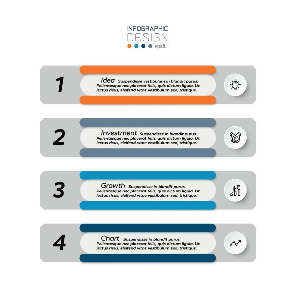 apresentação do conceito do processo de investimento ou exibição do relatório de trabalho por vetor. projeto infográfico. vetor