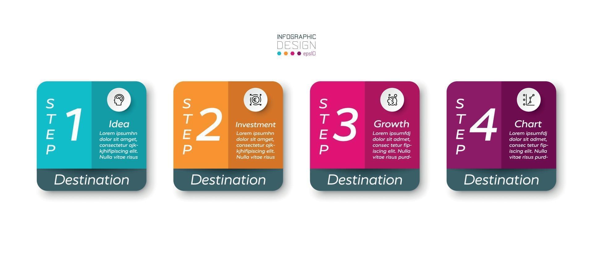 apresentação de quatro etapas da caixa quadrada colorida planejamento para marketing ou vários investimentos. projeto infográfico do vetor. vetor