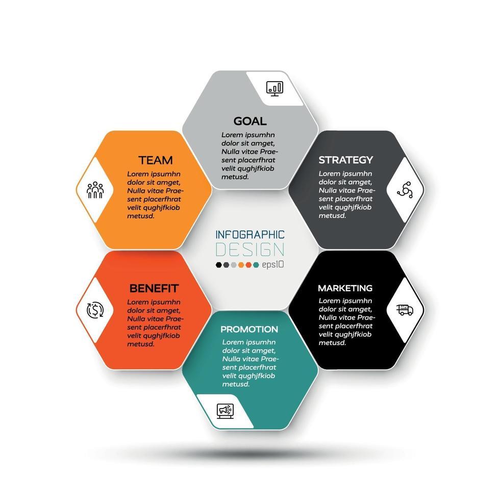 hexágono design por vetor negócios ou plataformas corporativas apresentam e descrevem processos de trabalho. ilustração de infográfico.