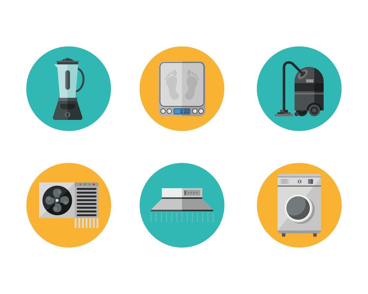 conjunto de ícones de estilo simples de aparelhos vetor