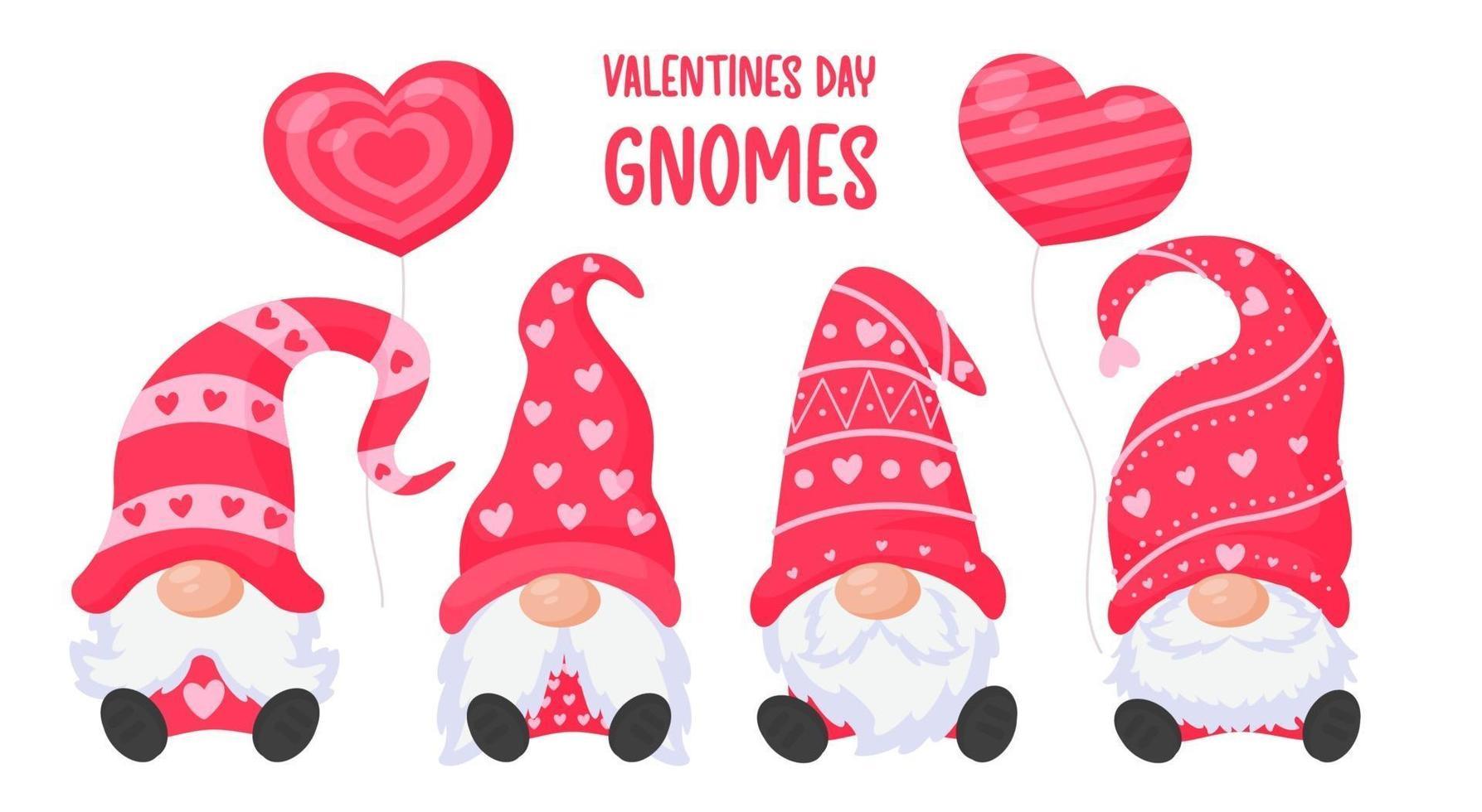 anões ou gnomos seguram balões de coração rosa. para cartão do dia dos namorados vetor