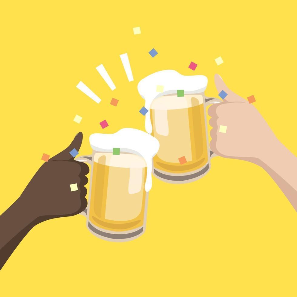 mãos pretas e brancas segurando copos de cerveja para comemorar juntos. vetor
