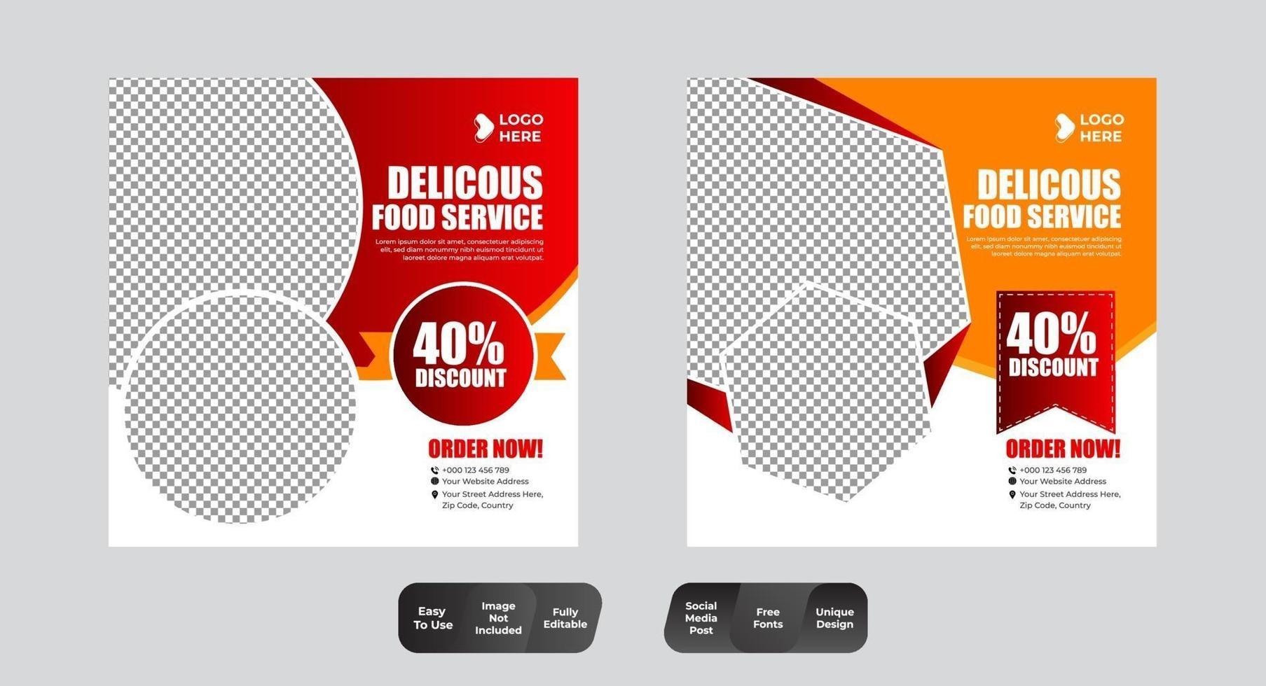 pacote de design de modelo de banner quadrado vetor