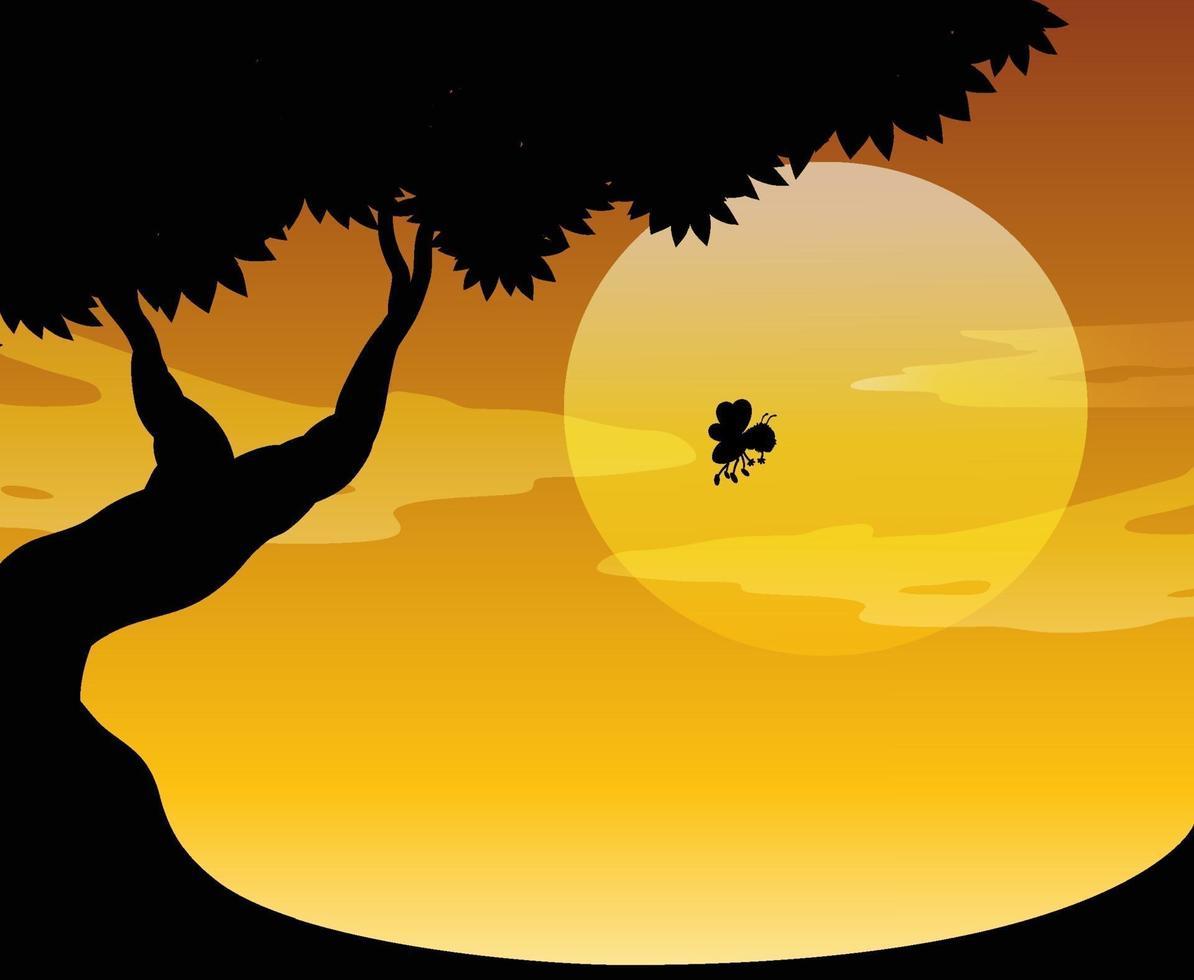 silhueta da natureza ao ar livre cena do pôr do sol vetor