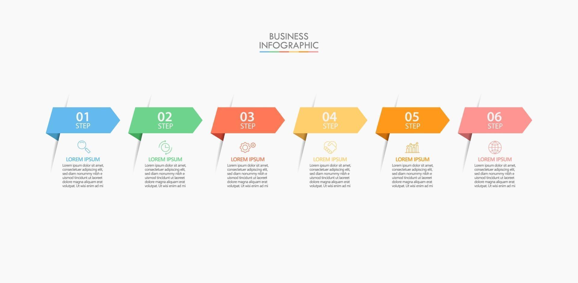 ícones de infográficos de seta com 6 opções vetor