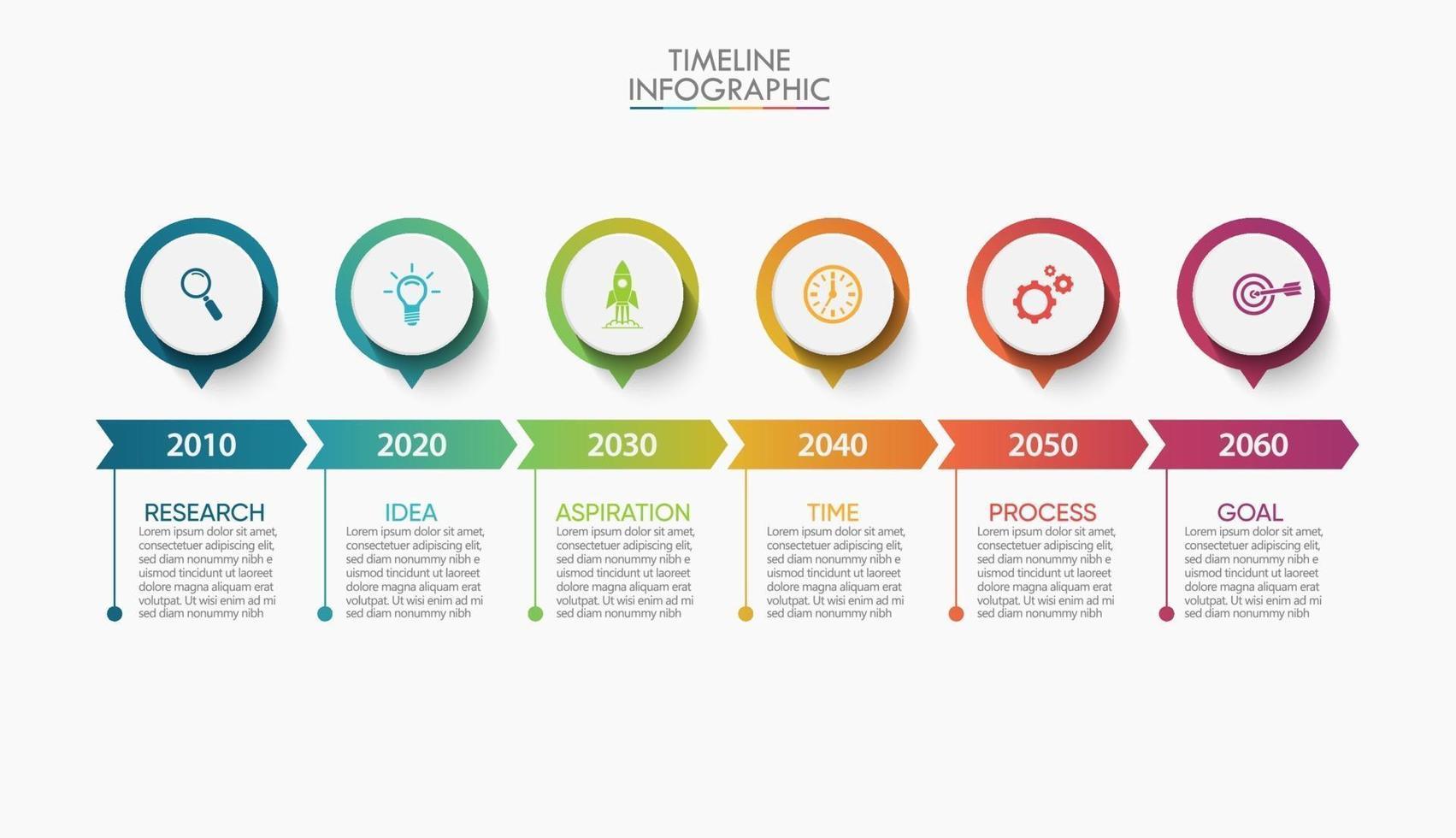 infográficos de seta na linha do tempo com ícones de 6 etapas vetor
