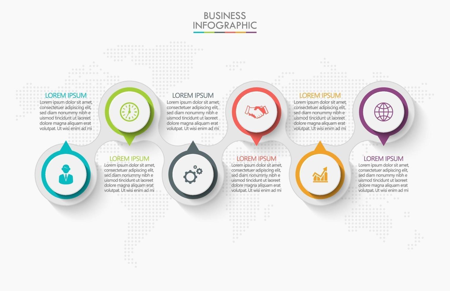 ícones de conexão de infográficos com 6 opções vetor