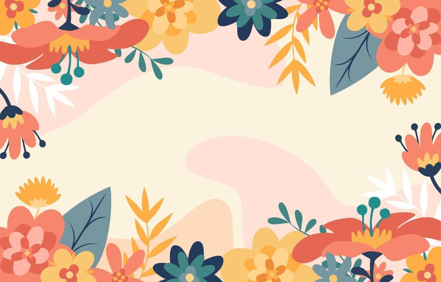 decoração floral de primavera colorida vetor