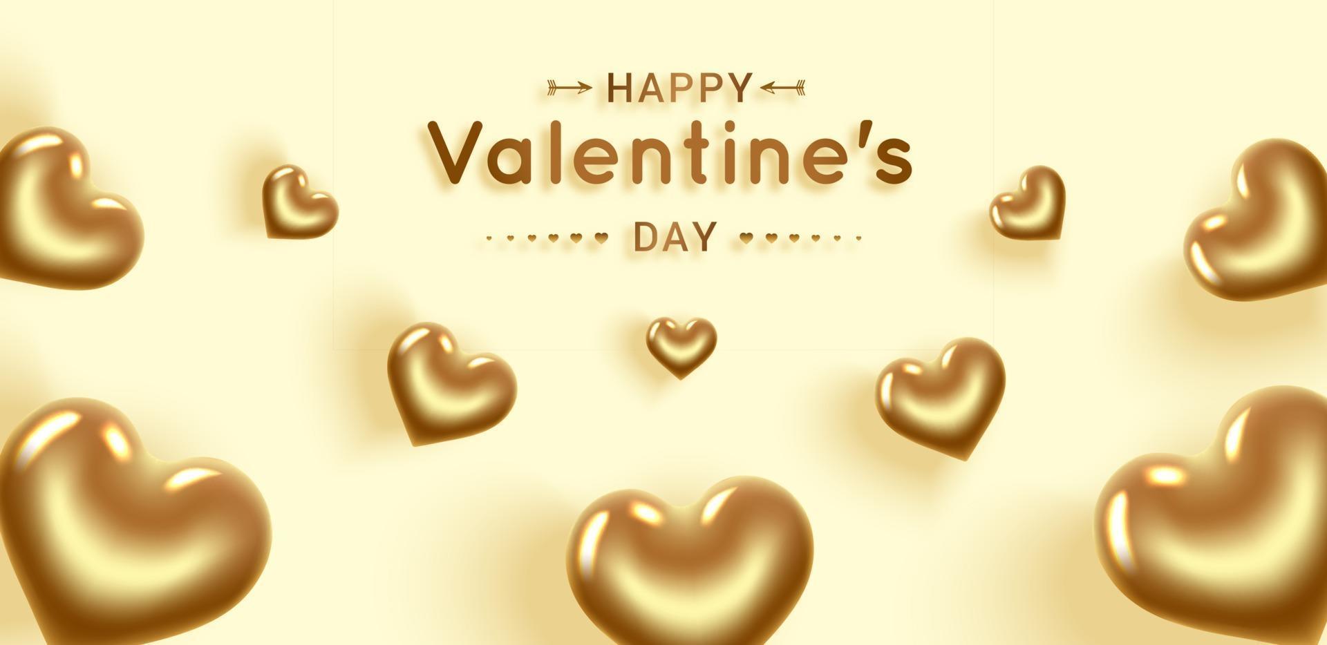 feliz Dia dos namorados. corações de ouro. banner com lugar para texto. vetor