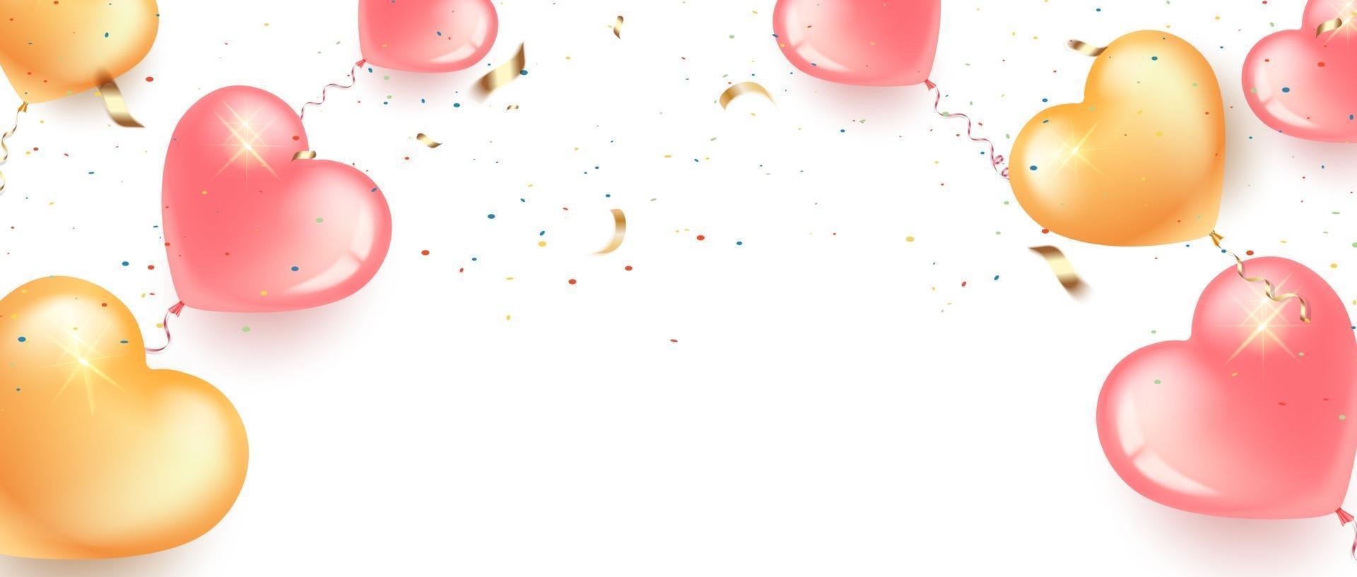 banner festivo com balões em forma de coração rosa e dourado vetor