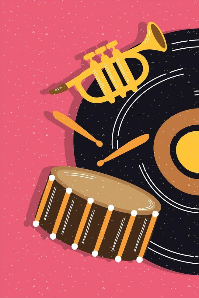 disco de vinil com instrumentos musicais vetor