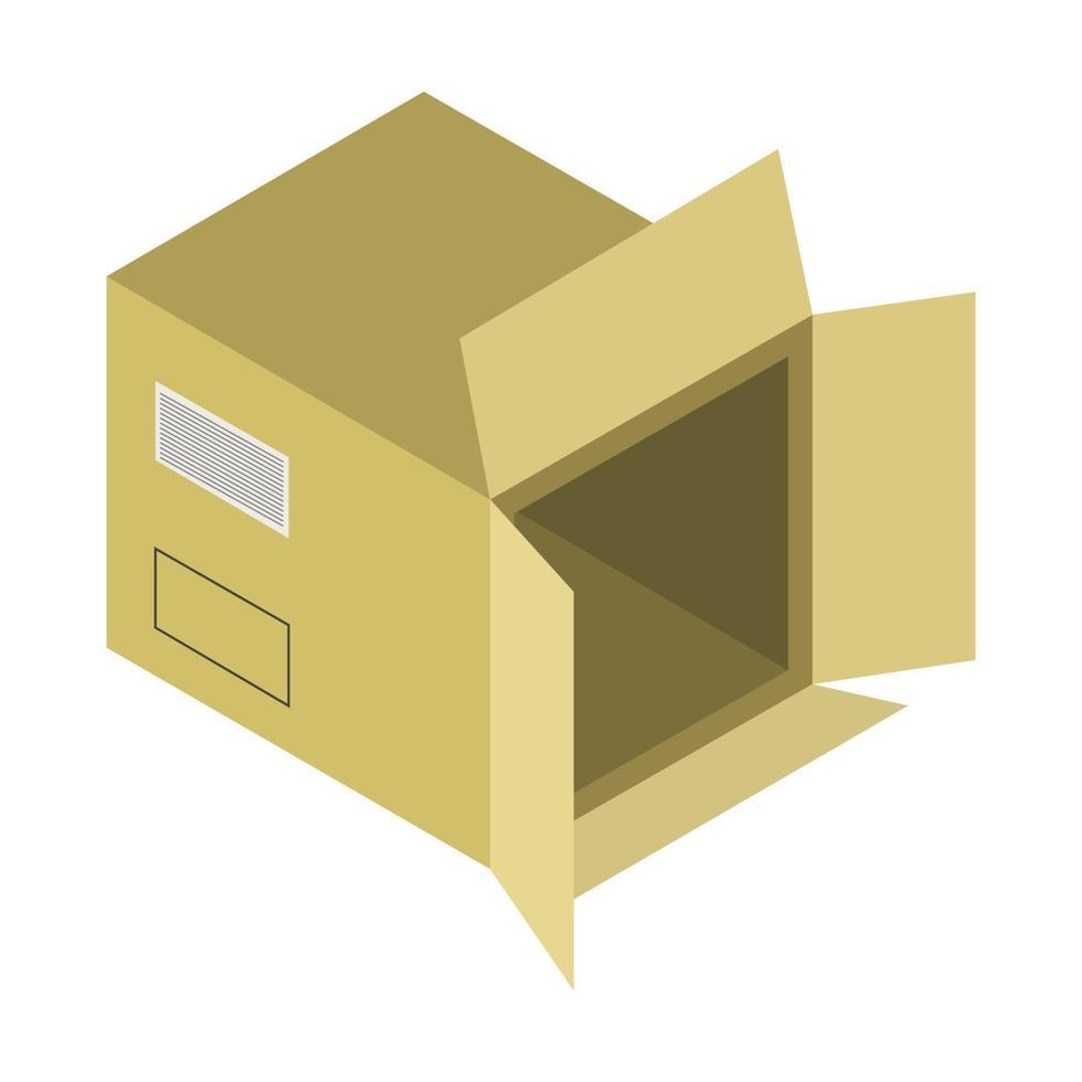 caixa isométrica em fundo branco vetor