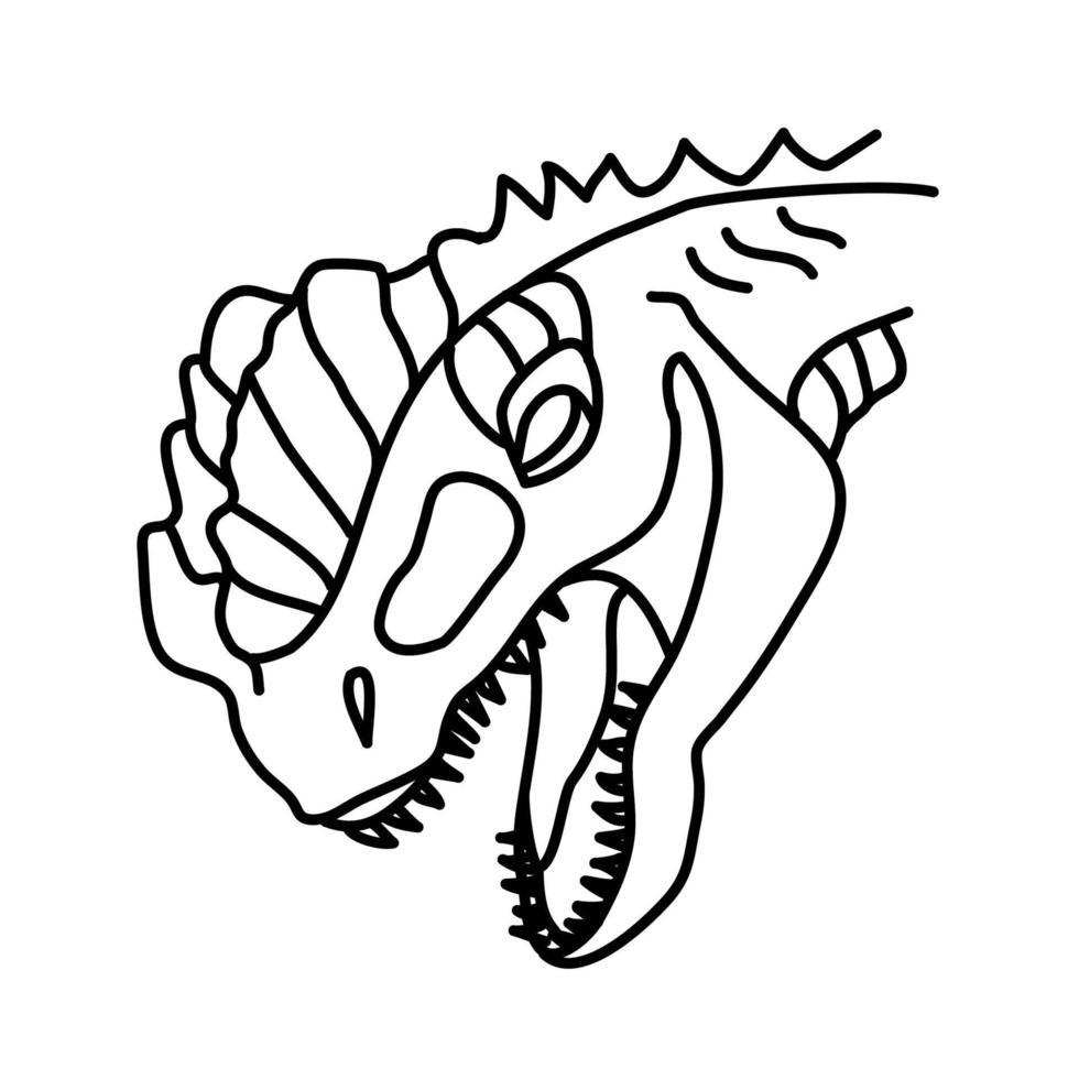 ícone do dilofossauro. doodle desenhado à mão ou estilo de ícone de contorno preto vetor