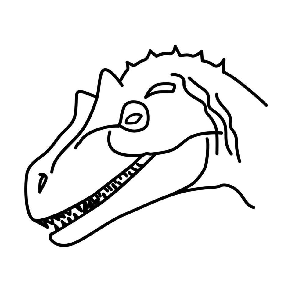 ícone de alossauro. doodle desenhado à mão ou estilo de ícone de contorno preto vetor