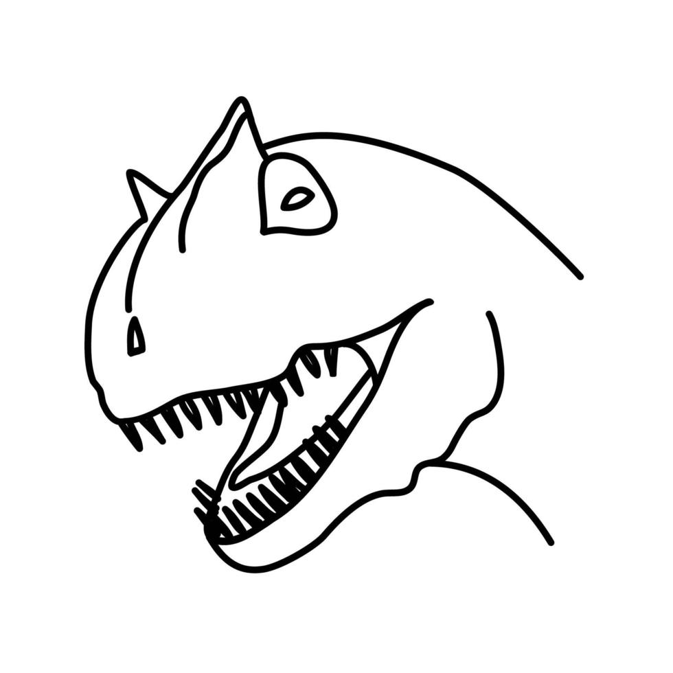 ícone de carnossauro. doodle desenhado à mão ou estilo de ícone de contorno preto vetor