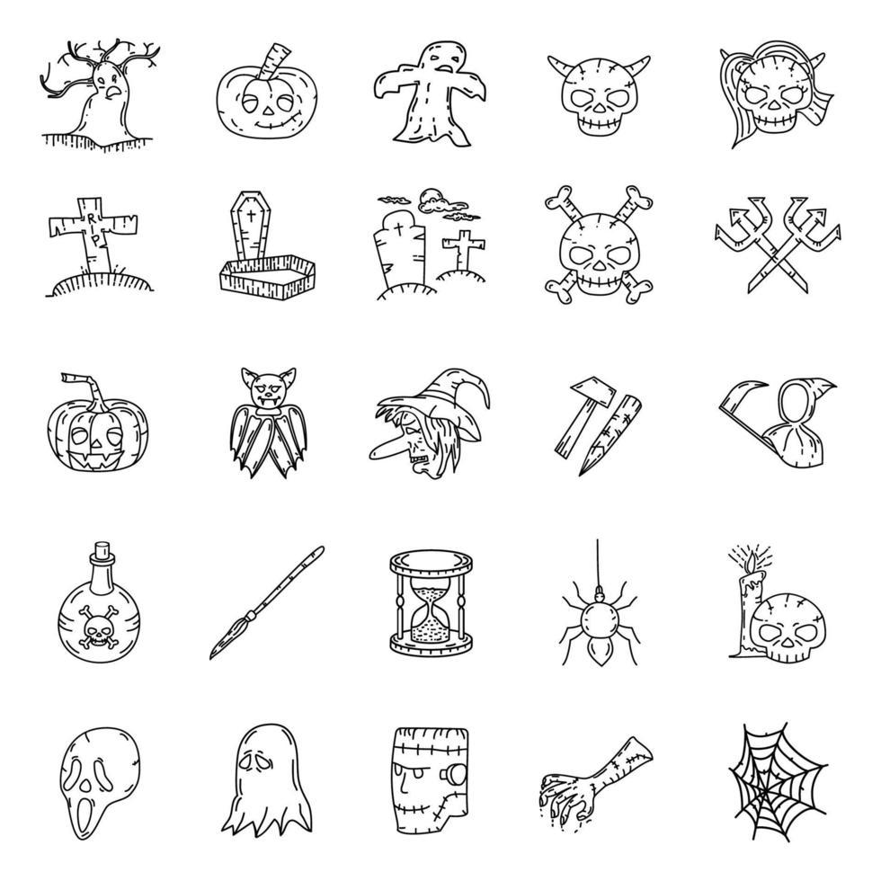 Halloween definir vetor de ícone, com estilo desenhado à mão