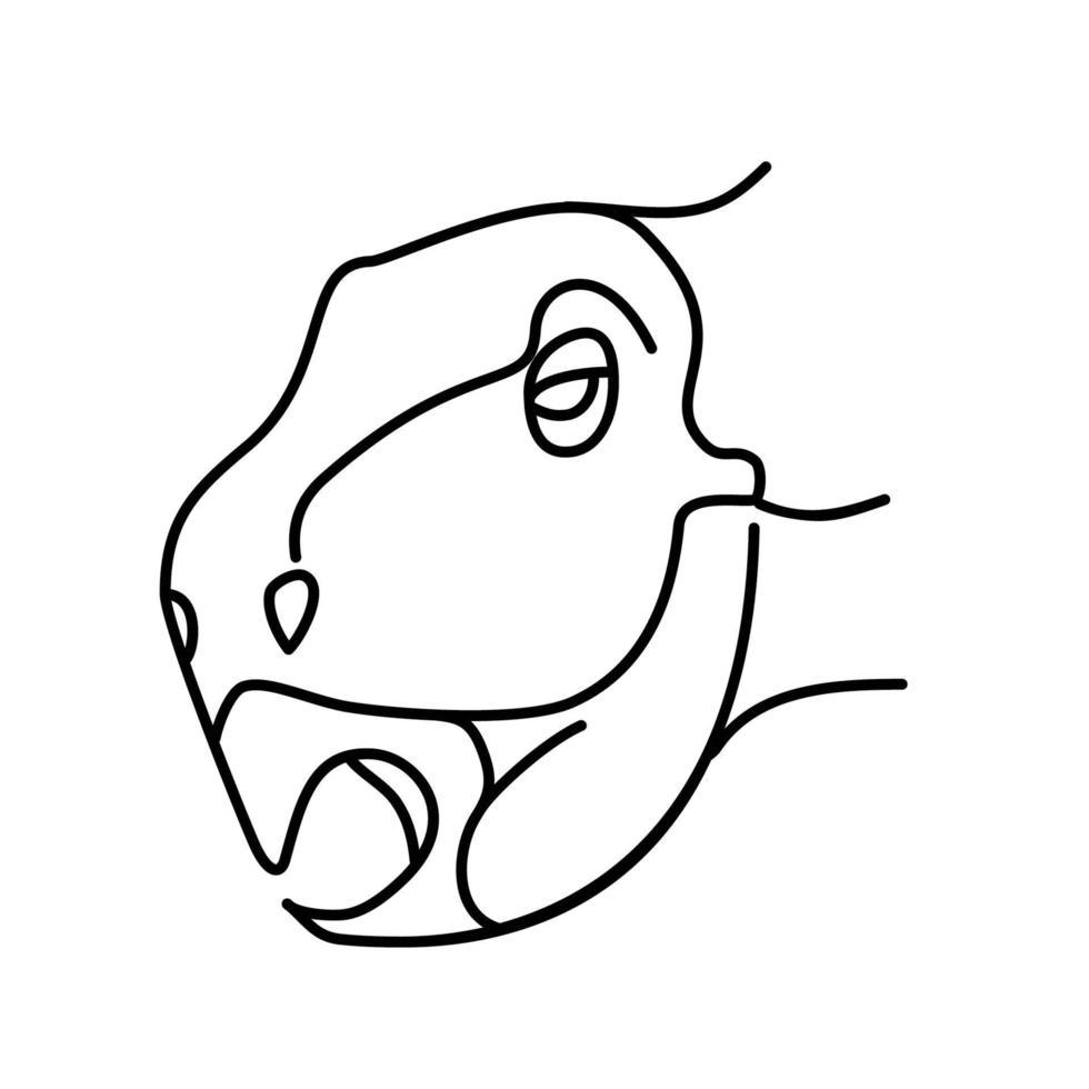 ícone do psitacossauro. doodle desenhado à mão ou estilo de ícone de contorno preto vetor
