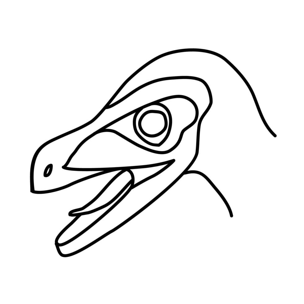 ícone do velociraptor. doodle desenhado à mão ou estilo de ícone de contorno preto vetor