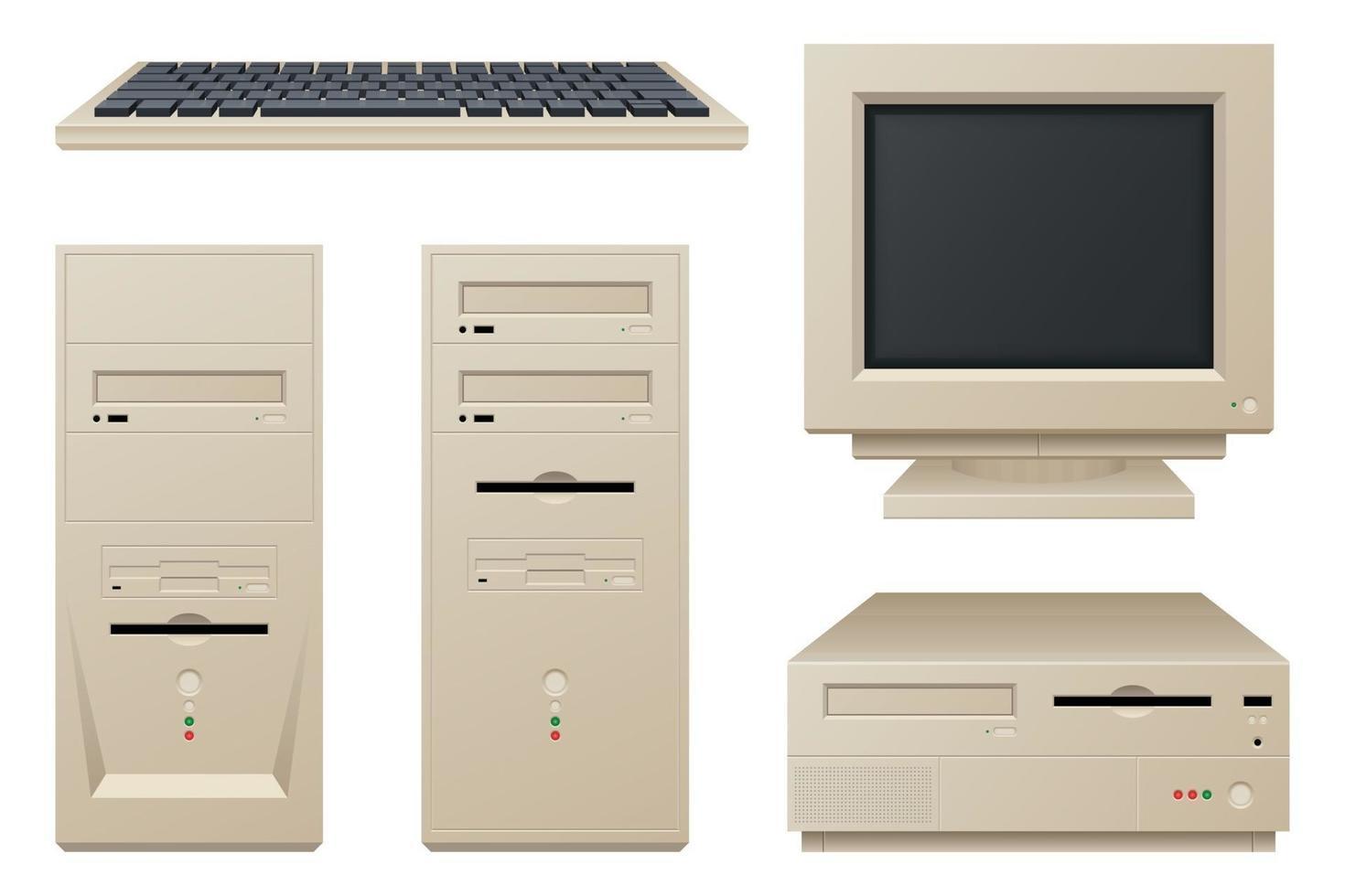 ilustração vetorial de computador vintage antigo vetor
