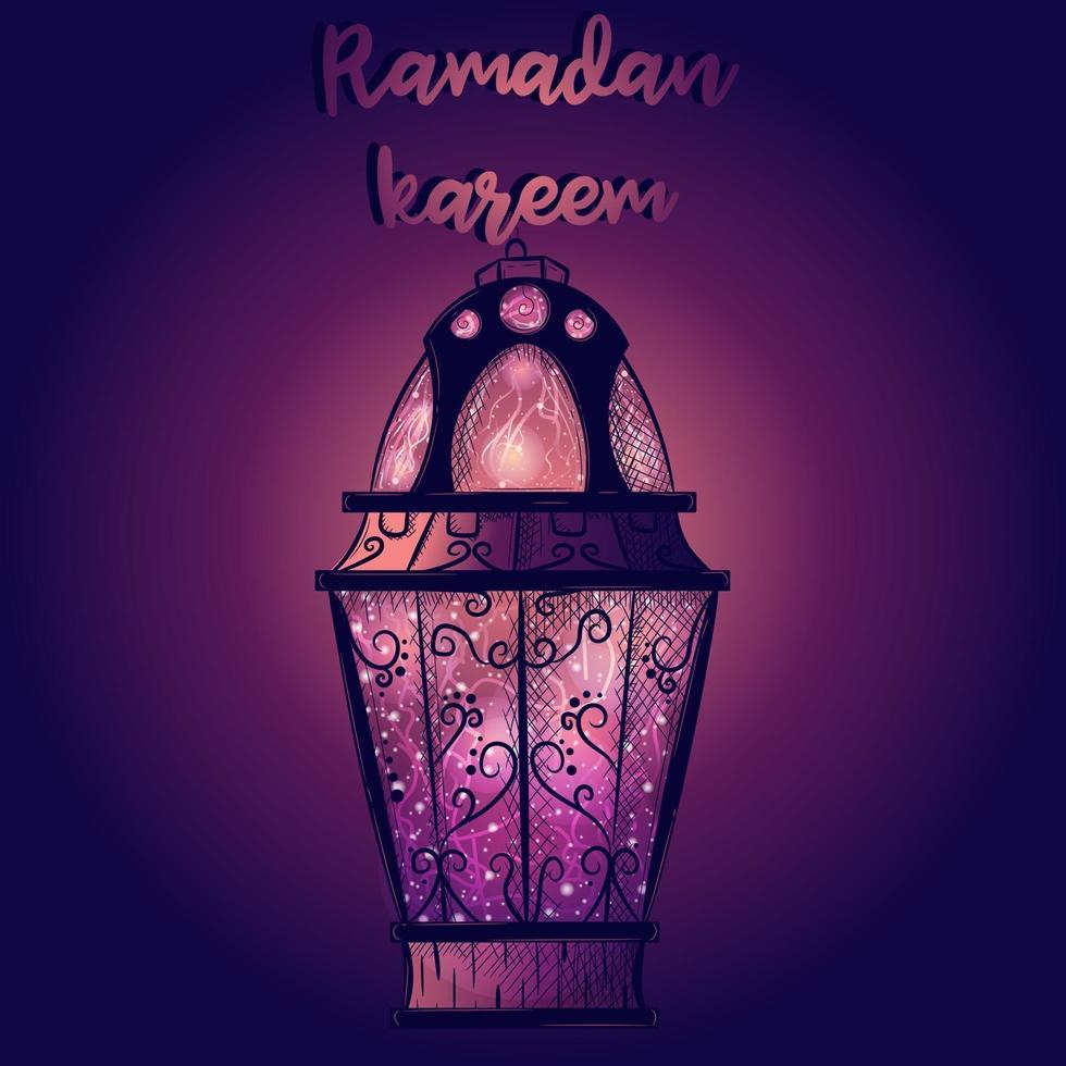 papel de parede gradiente com lanterna islâmica do ramadã. cartão roxo com uma vela árabe cheia de estrelas e luz. feriado cultural e religioso do Oriente Médio. vetor