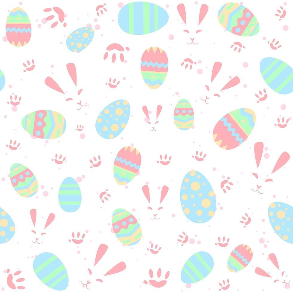 padrão sem emenda pastel com coelhos, patas e ovos. fundo repetitivo de Páscoa com coelhos para crianças e bebês. conceito tradicional cristão e religioso para férias de primavera. vetor
