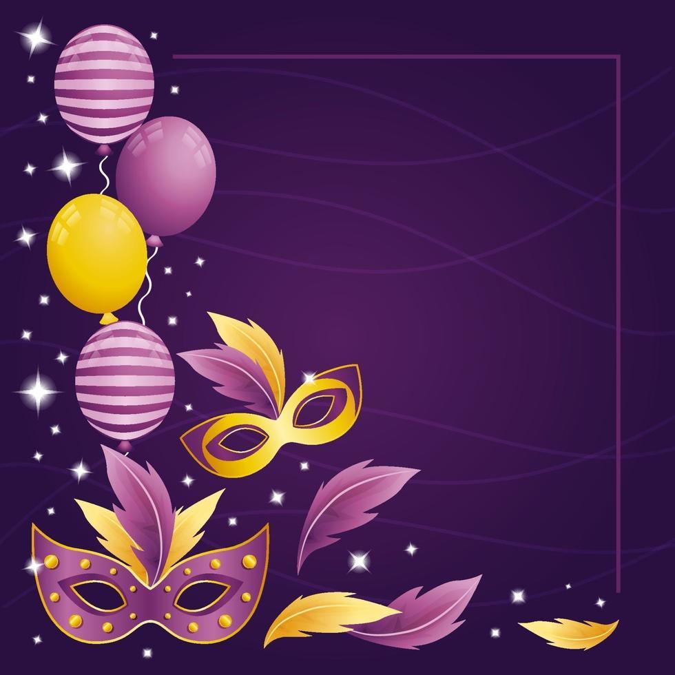 fundo gradiente roxo dourado da festa de carnaval vetor