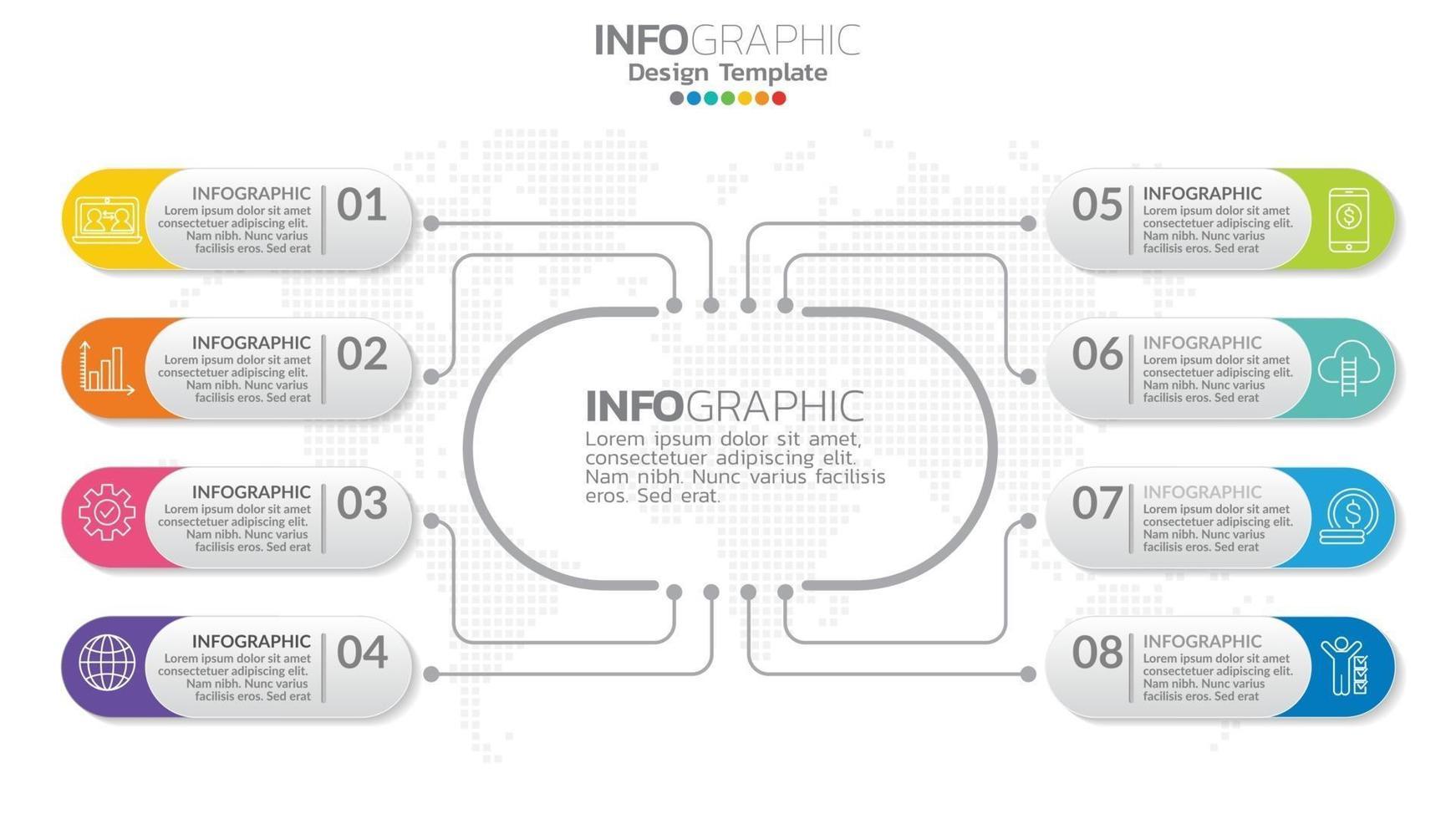 infográfico 8 elemento com círculo central. diagrama gráfico gráfico, design gráfico de cronograma de negócios com ícones. vetor