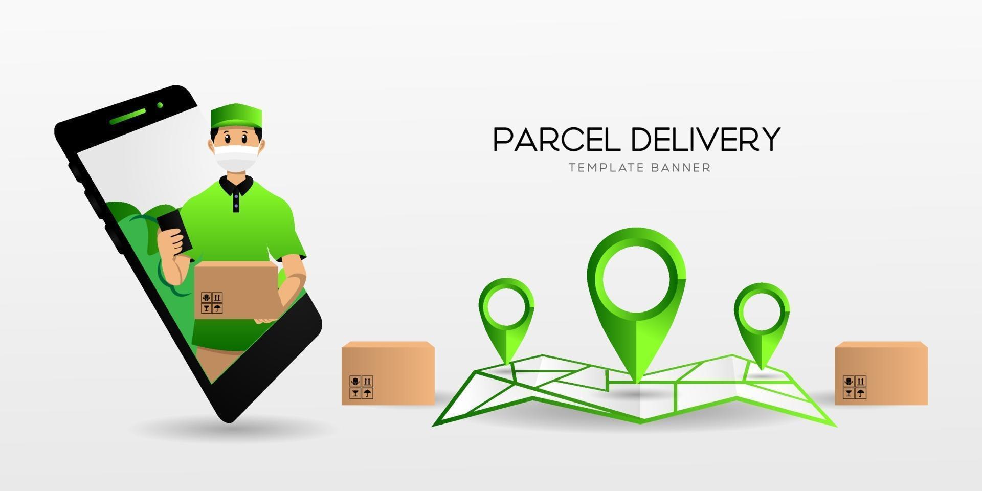 modelo de design de banner de entrega de pacote vetor