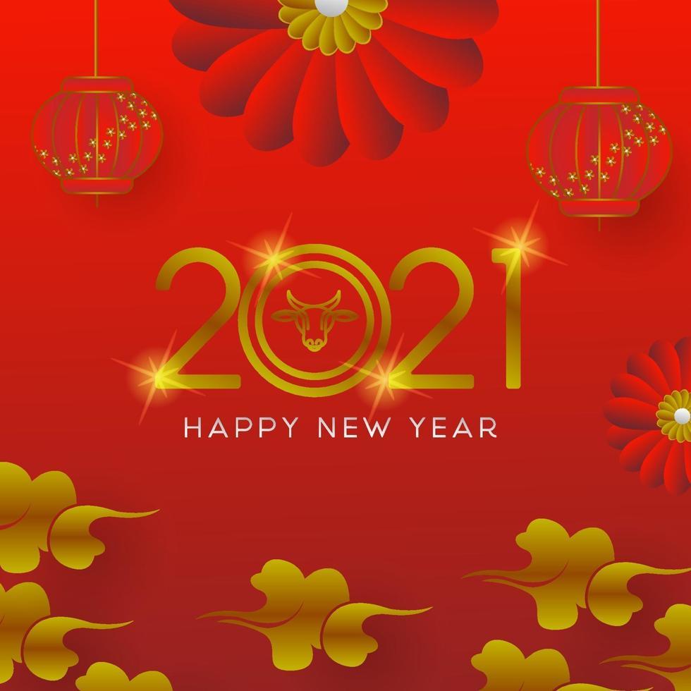 feliz ano novo lunar design de modelo de banner quadrado vetor