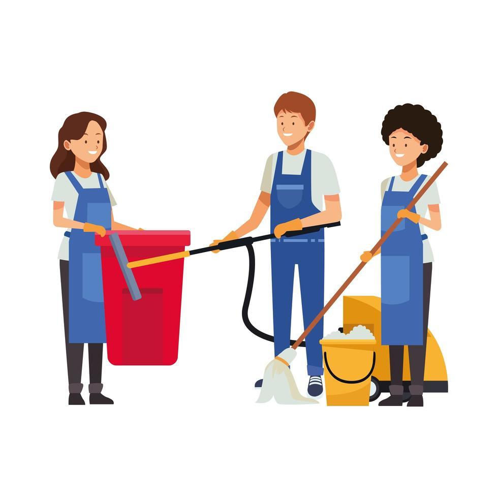 equipe de limpeza com equipamento de limpeza vetor